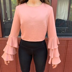 Misguided coral tiered, ruched sleeved blouse, 6